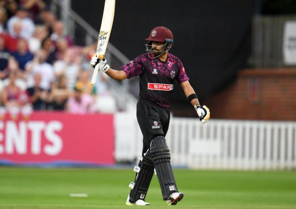 Babar Azam celebrate his century score in vitality blast 2019