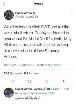 Babar Azam payed tribute the Abdul Qadir in his Tweet