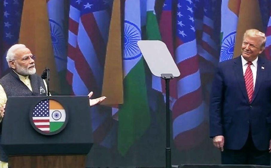 Modi Trump at Howdi modi event