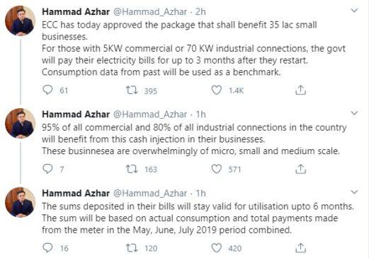Hammad Azhar Twitter statement ECC meeting today
