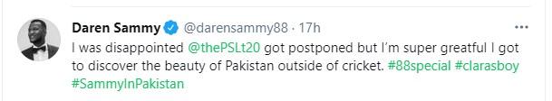 Daren Sammy tweet that he love the beauty of Pakistan