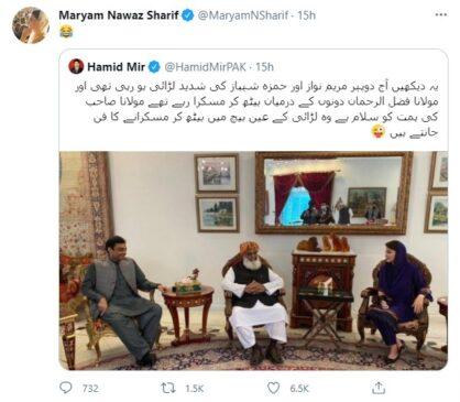 Maryam Nawaz Shareef of PMLN taunts in Hamid Mir post